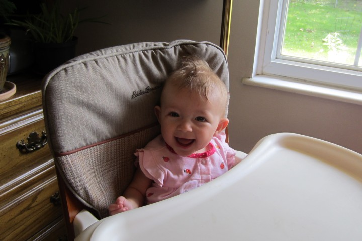 Update: July 1st. Ginny can sit up in her high chair at 6 1/2 months old. This makes feeding her so much easier!