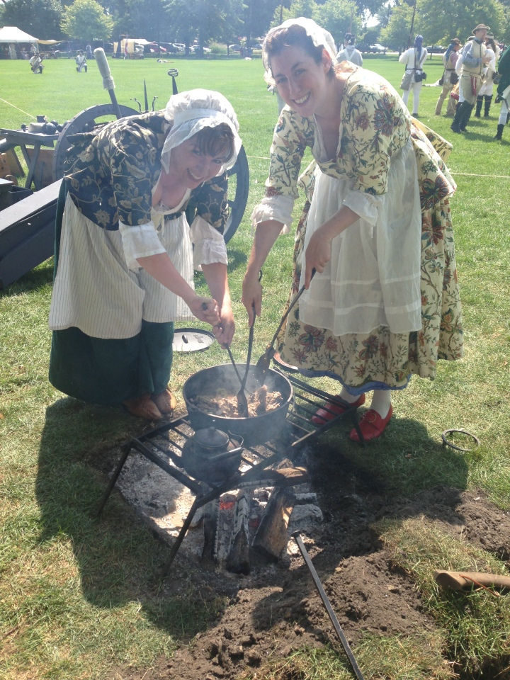Demonstrating 18th Century Cooking for Highlanders: Rowenna Hamper (right) and Myself (left), Highland, IN.