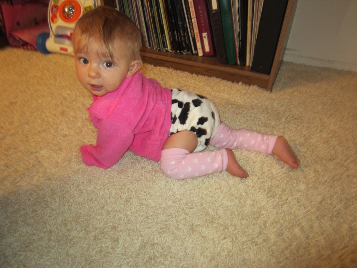 Ginny at 10 Months wearing her Blueberry Minky Diaper