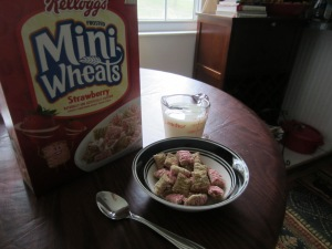 One Serving of Frosted Mini Wheats (25 biscuits, counted out) and 1 Cup of Skim Milk (measured)