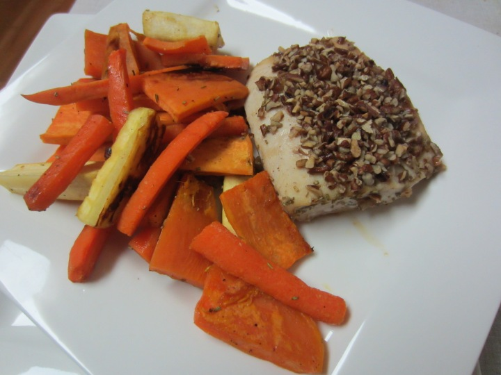 Maple Pecan Crusted Mahi Mahi with Roasted Root Vegetables - 455 calories per serving