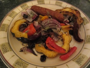 Roasted Acorn Squash and Sausage Plate