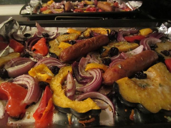 Roasted Acorn Squash and Sausage - 228 calories per serving