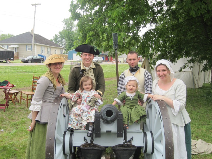 Vincennes 2014: Rowenna, her husband, Thomas, Me (5 months pregnant with Jack), our God-daugher, and Ginny...oh, and Milton (the canon). It was warm, sure, but if we never reenacted in the heat, we would never reenact.