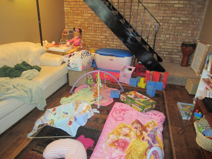 Ginny's Birthday Explosion! This is what our living room looked like the day after the 2nd birthday party. She's pretty obsessed with Minnie, Mickey, and Donald (or Mouse Ducky, as she calls them). That and princesses, which she calls dollies.