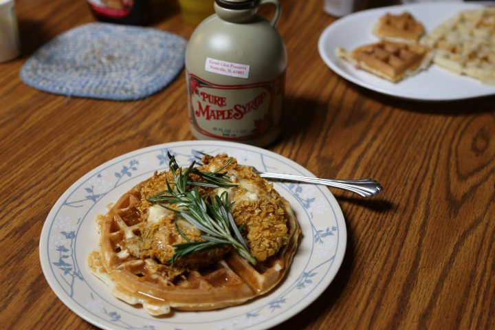 Oven Fried Chicken and Waffles with Syrup