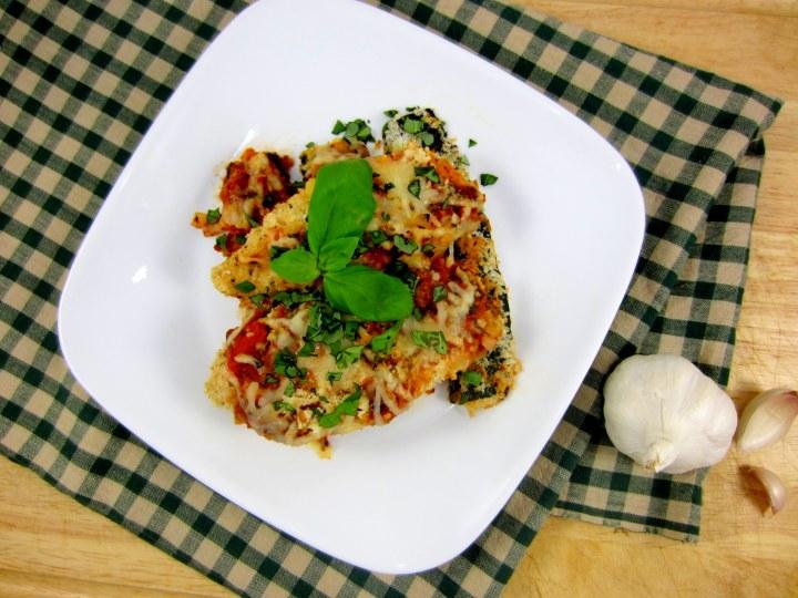 Basil Zucchini Chicken Parmesan - 393 calories per serving