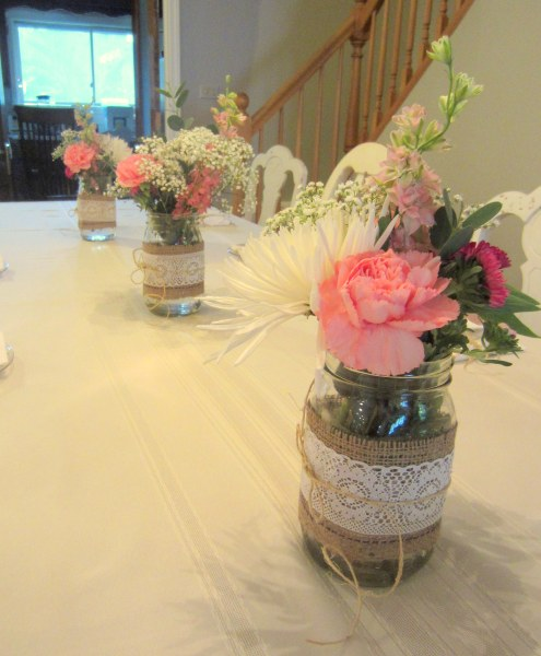 Burlap and Lace Mason Jars on Dining Table