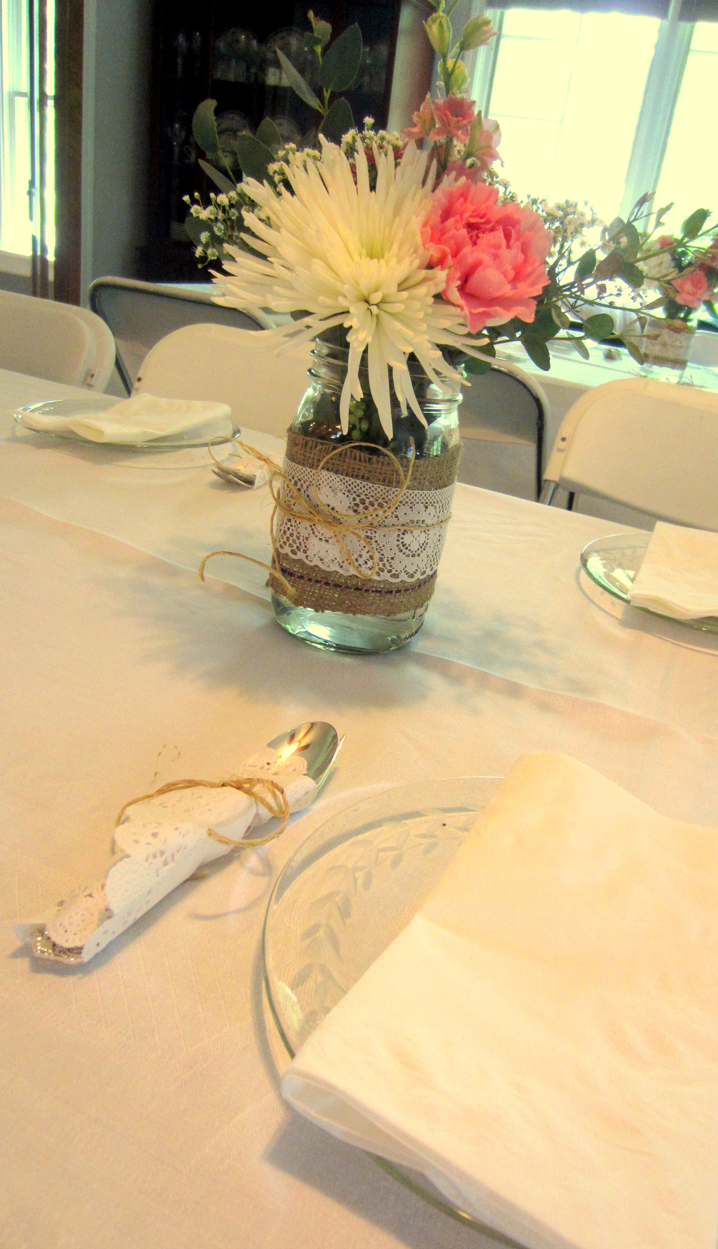 Burlap and Lace Table Setting & Throwing a Burlap and Lace Bridal Shower \u2013 SweetPeas and Soybeans ...